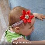 Повязка на голову с цветком из атласной ткани своими руками