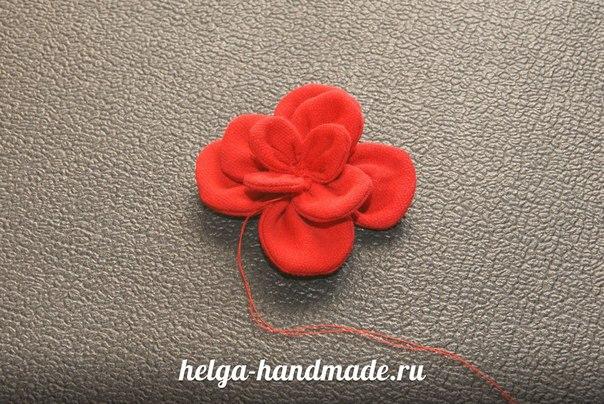 Объемный цветок из ткани сшить 48