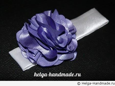 Повязка на голову с цветком из ткани