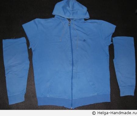 Отрезаем рукава для штанишек