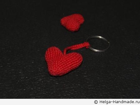 Брелок с вязаным сердцем