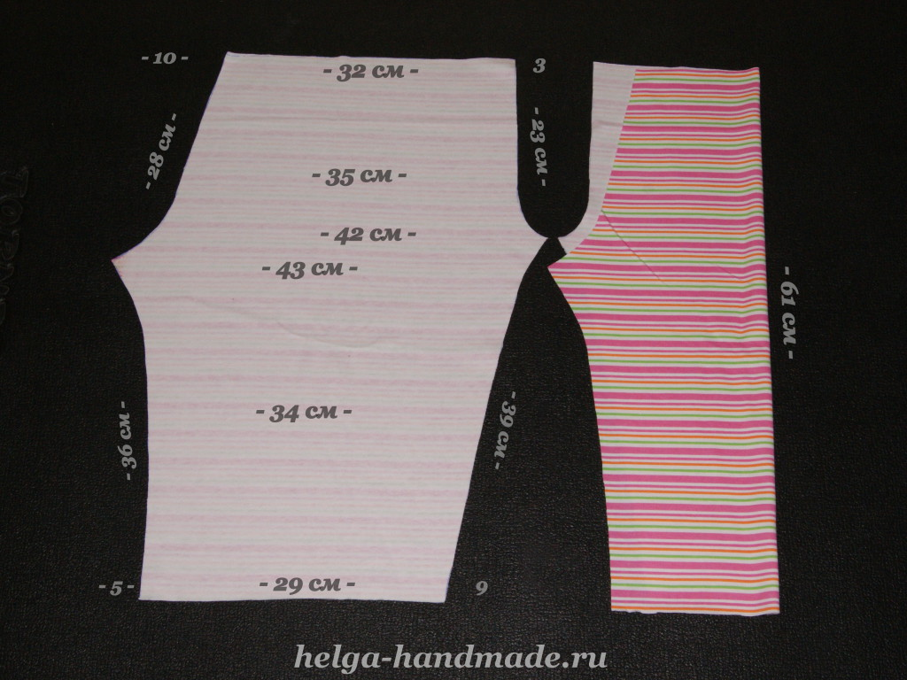 Выкройка детских штанишек на рост 92