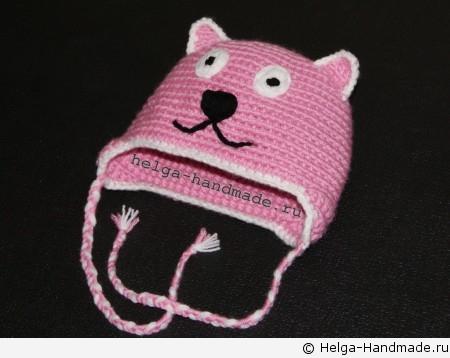 Детская шапочка с ушками и мордочкой кошки