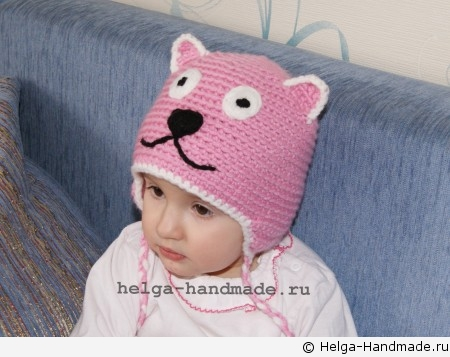 Детская вязаная шапочка-кошка с ушками. Handmade от Ольги