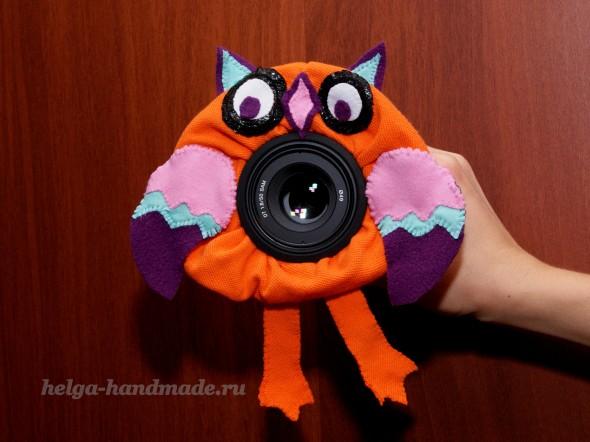Игрушка на объектив фотоаппарата «Сова» своими руками