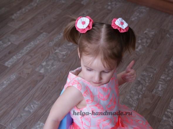 Резиночки для волос с цветами из ткани