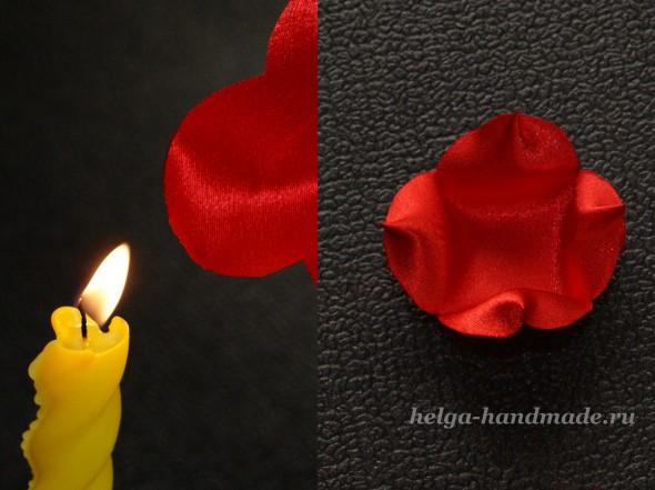 Делаем цветок из ткани. Обжигаем края ткани