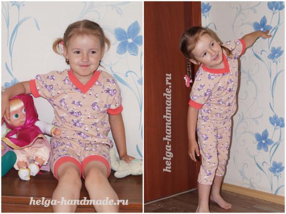 Летний костюм для девочки (футболка, шорты и бриджи)