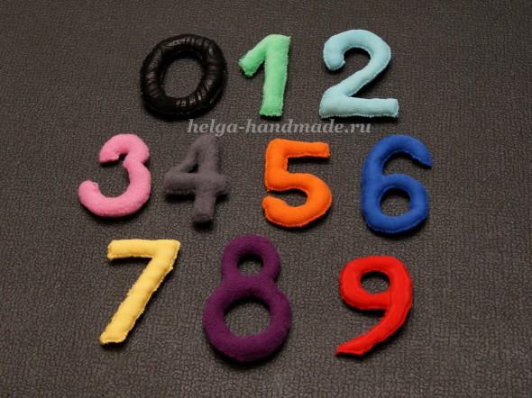 Мягкие разноцветные цифры из ткани