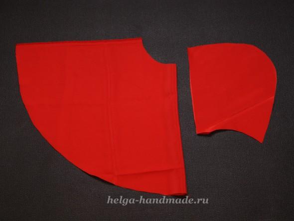 Выкройка плаща с капюшоном для новогоднего костюма Красной шапочки