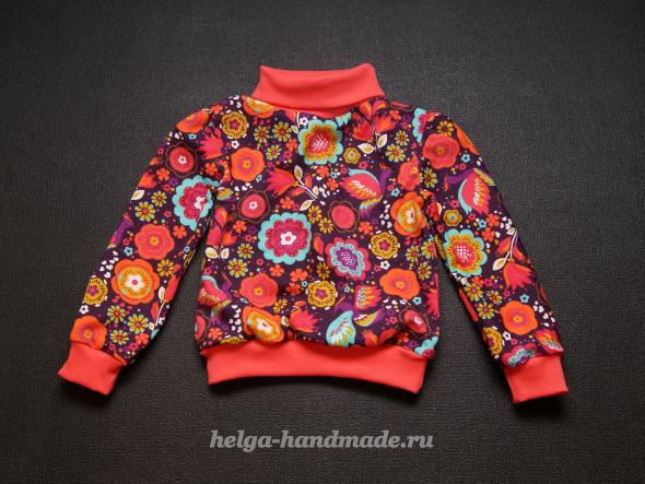 Детская одежда. Теплая водолазка (кофточка) из футера