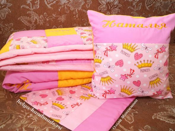 Именное лоскутное одеяло и подушка