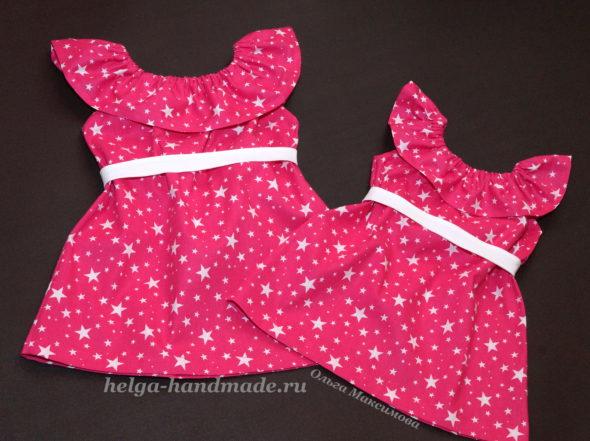 Летнее платье-сарафан с воланом для девочек своими руками